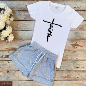 Заказать белый/серый женский трикотажный костюм: шорты+футболка с надписью Faith хорошего качества