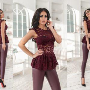 Приобрести бордо женский костюм: лосины из эко кожи+топ из гипюра (размер 42-48) недорого