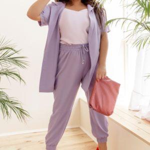 Заказать лавандовый женский костюм двойка: штаны на резинке+пиджак с короткими рукавами (размер 42-58) выгодно