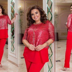 Приобрести красный женский брючный костюм с блестящим кружевом на кофте (размер 50-60) в интернете