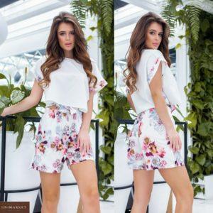 Купить цветочный женский костюм: широкая футболка на завязках+шорты с карманами (размер 42-56) выгодно