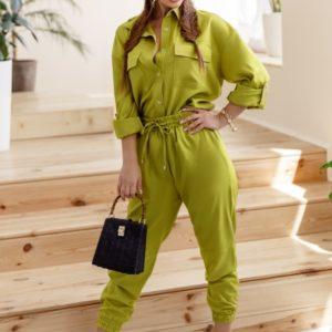 Приобрести салатовый женский костюм двойка: штаны на резинке и рубашка (размер 42-58) хорошего качества