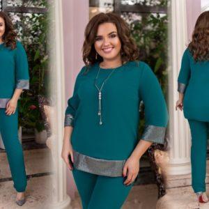 Заказать зеленый женский брючный костюм с блестящими вставками (размер 50-60) в Харькове