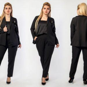 Купить черный женский брючный костюм тройка: брюки+майка+пиджак (размер 48-60) в Украине