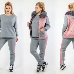 Заказать розовый/серый женский костюм тройка с жилеткой с декором на карманах (размер 48-64) в Харькове