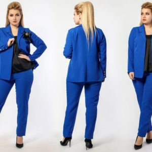 Купить электрик женский брючный костюм тройка: брюки+майка+пиджак (размер 48-60) выгодно