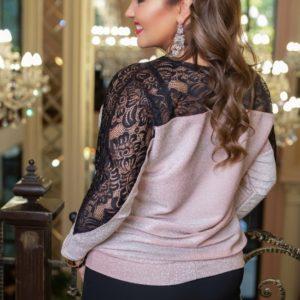 Приобрести розовую женскую кофту из люрекса прямого кроя с гипюром (размер 48-58) по низким ценам