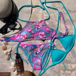Купить голубой женский купальник-тройка с топом на завязках недорого