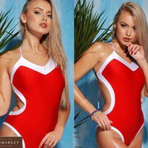 Приобрести красный женский слитный двухцветный купальник на завязках недорого