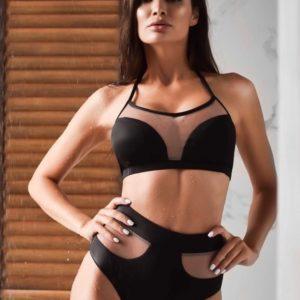 Приобрести черный женский купальник со вставками из сетки с легким пуш-апом выгодно