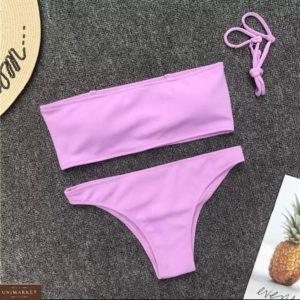 Купить лиловый женский купальник с топом со съемными бретельками по скидке