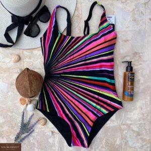 Приобрести черный/ розовый женский слитный купальник с яркими лучами недорого