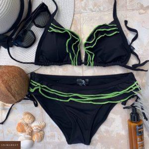 Купить зеленый женский купальник-шторки с цветными рюшами в Днепре