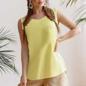 Купить желтую женскую летнюю майку из хлопка с карманом (размер 42-58) в Одессе