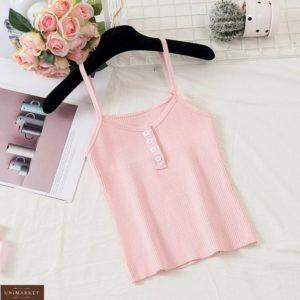 Купить розовую женскую майку из трикотажа рубчик с пуговицами онлайн