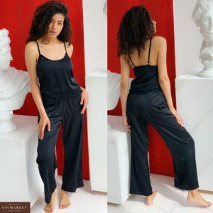 Купить черный женский комплект пижама: майка+свободные брюки с двумя карманами (размер 42-56) выгодно