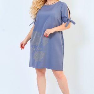 Купить графит-серое женское платье из костюмки со стразами с завязками на рукавах (размер 50-64) онлайн