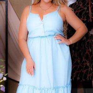 Купить голубое женское летнее платье миди на бретельках (размер 50-64) выгодно