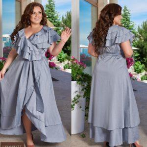 Заказать синее женское хлопковое платье в пол с рюшами (размер 48-66) онлайн