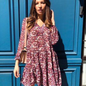Купить бордо женское шифоновое платье oversize с V-образным вырезом в Украине