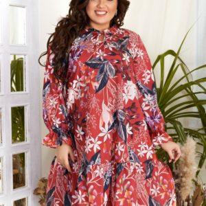 Купить красное женское свободное принтованное платье с длинным рукавом (размер 42-60) выгодно
