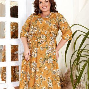 Купить янтарное женское принтованное платье миди с V-образным вырезом (размер 42-56) выгодно
