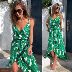 Купить зеленое женское летнее платье на запах с принтом листья дешево