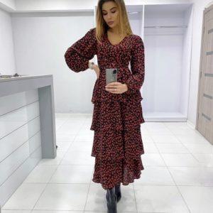 Заказать красное женское платье в цветочный принт из штапеля с воланами онлайн