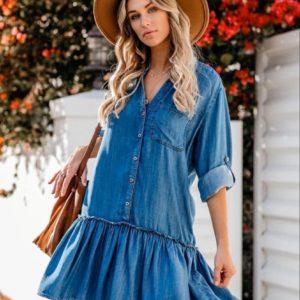 Заказать синее женское летнее джинсовое платье-рубашка свободного кроя (размер 42-48) онайн