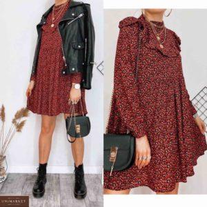 Купить красное женское свободное платье с цветочным принтом под шею недорого