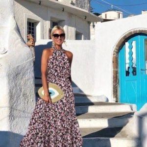 Купить черное женское длинное платье под шею в цветочный принт из штапеля дешево