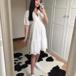 Купить женское летнее свободное белое платье из прошвы по скидке
