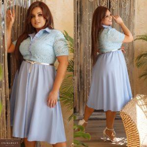 Купить голубое женское летнее платье миди из льна и прошвы с поясом в комплекте (размер 48-62) в Украине