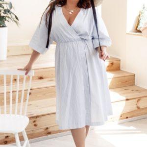 Купить голубое женское хлопковое платье в вертикальную полоску с широкими рукавами (размер 42-58) выгодно