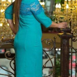 Приобрести бирюзовое женское платье футляр с кружевной вставкой (размер 48-54) выгодно