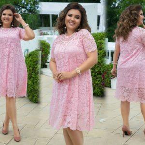 Заказать пудра женское кружевное платье свободного кроя с коротким рукавом (размер 48-58) недорого