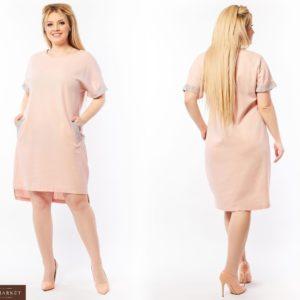 Приобрести пудровое женское платье из льна со стразами (размер 50-64) по скидке
