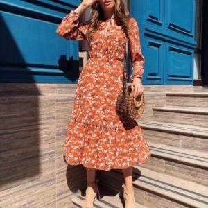 Заказать терракот женское платье миди с завязкой на шее в цветочный принт в Украине