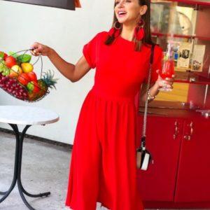 Замовити червоне жіноче плаття міді з коротким рукавом і відкритою спиною дешево