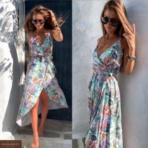 Заказать белое женское летнее платье на запах с принтом листья онлайн
