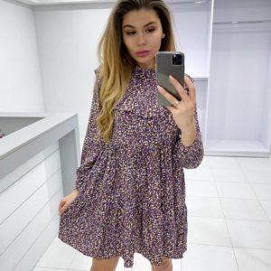 Заказать красное женское свободное платье с цветочным принтом под шею онлайн