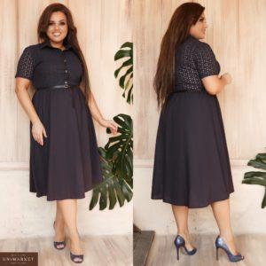 Заказать темно-синее женское летнее платье миди из льна и прошвы с поясом в комплекте (размер 48-62) недорого