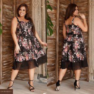 Заказать черное женское летнее платье миди в цветочный принт с кружевом (размер 48-62) по скидке