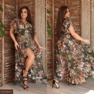 Купить зеленое женское асимметричное платье миди с нежными рукавами (размер 48-62) выгодно