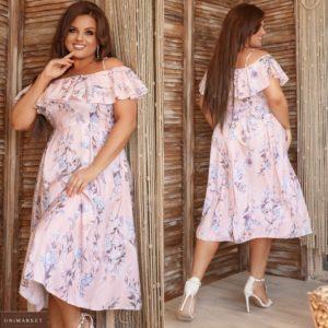 Заказать персик женское принтованное платье миди с открытыми плечами (размер 48-62) выгодно