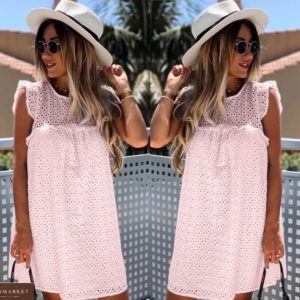 Приобрести розовое женское платье из прошвы прямого кроя (размер 42-54) недорого