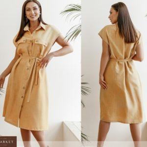 Заказать горчица женское льняное платье на пуговицах с поясом (размер 42-58) в Украине