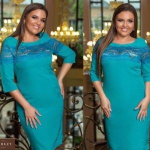 Купить бирюзовое женское платье футляр с кружевной вставкой (размер 48-54) недорого