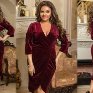 Купить бордо женское элегантное платье на запах из велюра (размер 48-54) выгодно