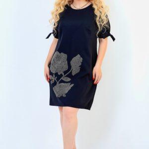 Заказать черное женское платье из костюмки со стразами с завязками на рукавах (размер 50-64) по низким ценам